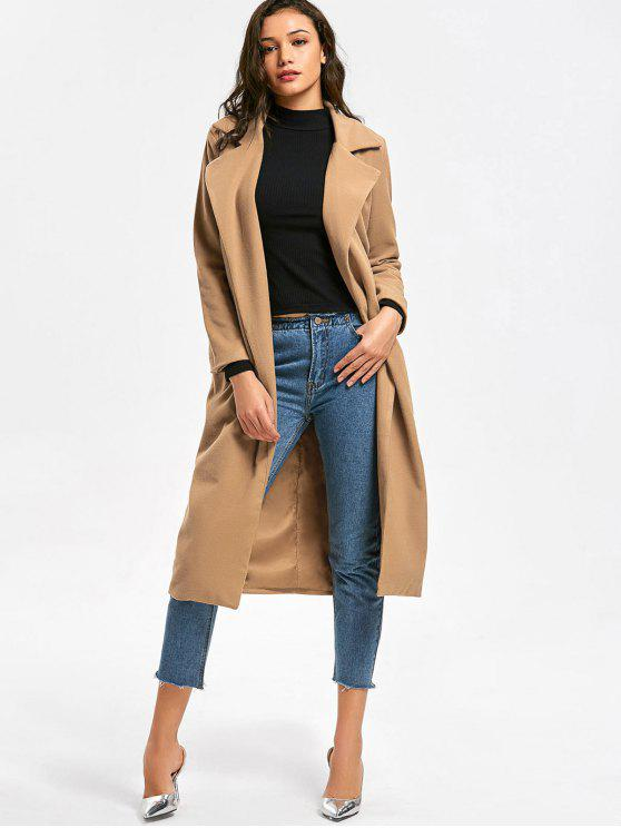 outfit Lapel Coat with Pockets - CAMEL S