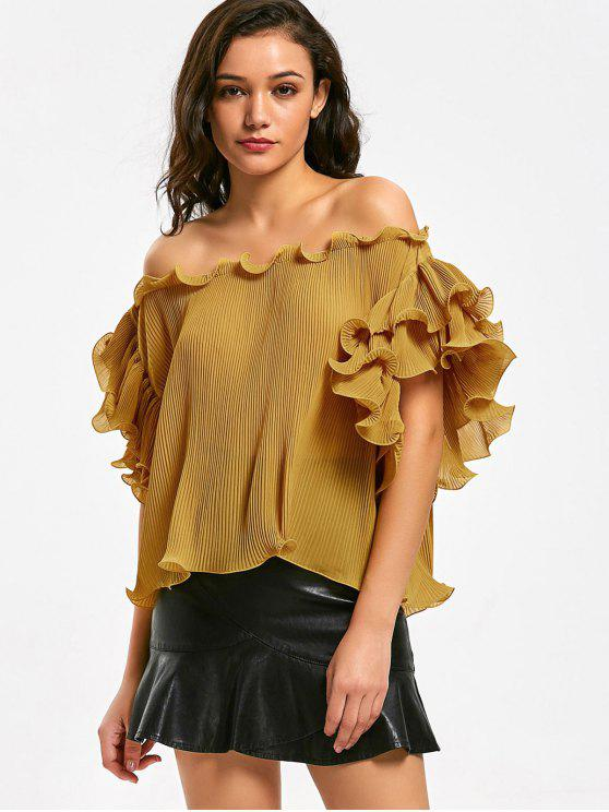 ladies Off Shoulder Tiered Sleeve Ruffled Blouse - GINGER L