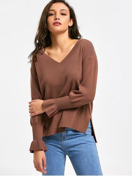04fb690792da 30% OFF  2019 V Neck High Low Side Slit Sweater In COFFEE