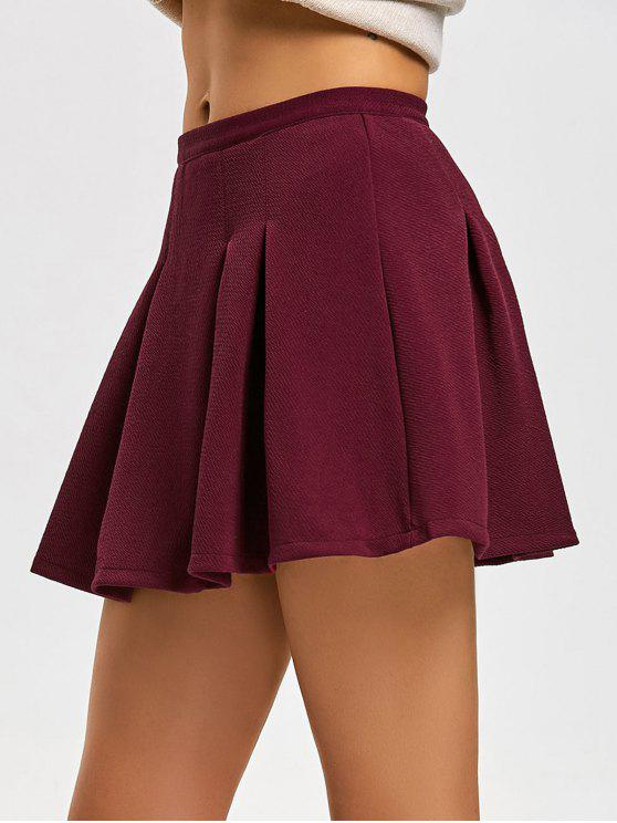 sale High Waist Pleated Mini Flare Skirt - DEEP RED XL