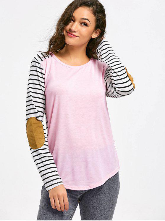 T-shirt contrasté à coude rayé - Rose  S