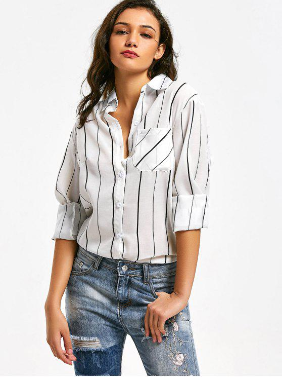 women Button Up Striped Longline Pocket Shirt - WHITE S