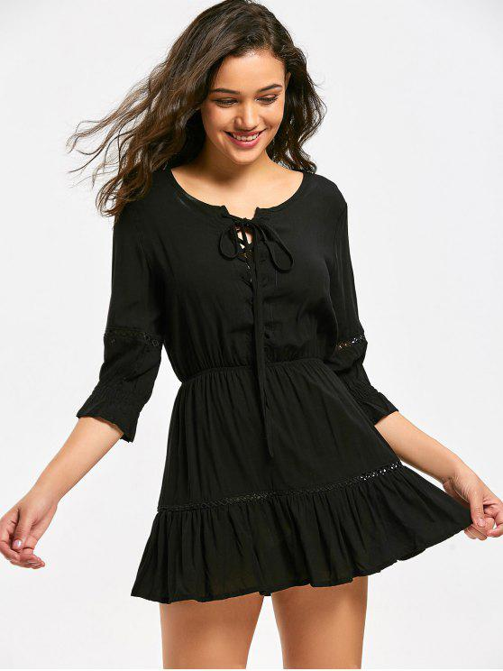 latest Lace Up Hollow Out Mini Flare Dress - BLACK S