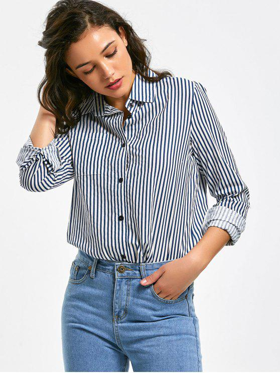 online Button Up Longline Striped Pocket Shirt - STRIPE M