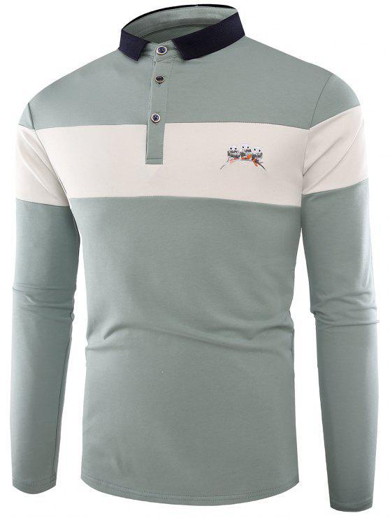 T-shirt Col Polo Boutonné et Brodé de Couleurs - Bleu clair XL