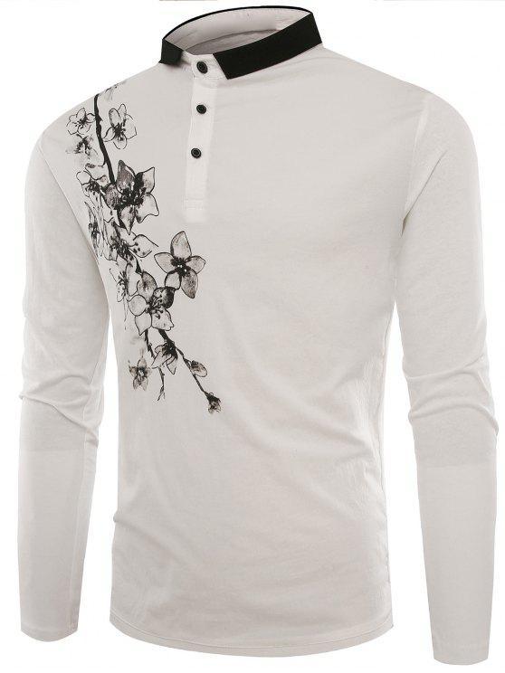Polo-Kragen-Knöpfe Blumen-Druck-T-Shirt - Weiß L