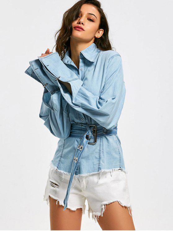 Chemise en chambray avec ceinture boutonnée effilochée - Bleu clair M