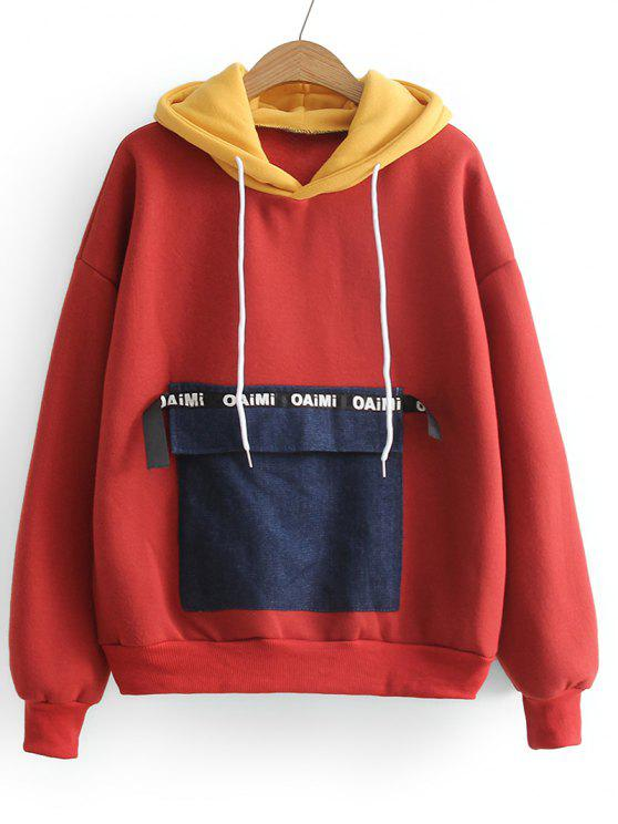best Contrasting Letter Patches Hoodie - RED ONE SIZE