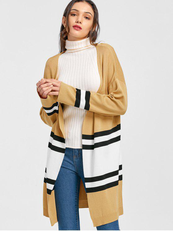 women Striped Knitted Cardigan - EARTHY ONE SIZE