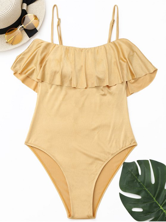 fashion Ruffle Shiny High Cut Swimwear - GOLDEN S