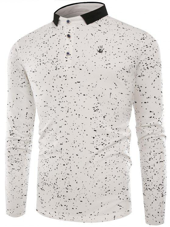 T-shirt con bottoni di Splatter Paint Buttons - Bianco 3XL