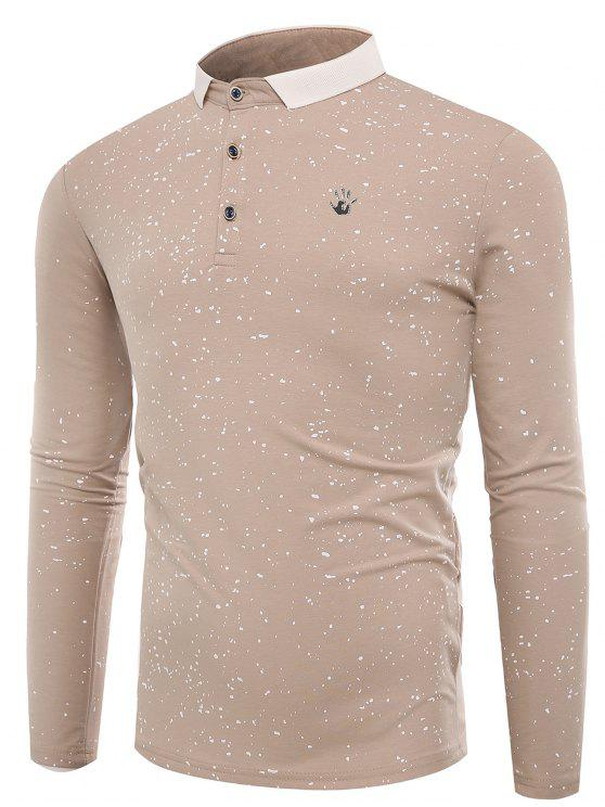 Polo Collar Splatter Paint Buttons T-shirt - Damasco L