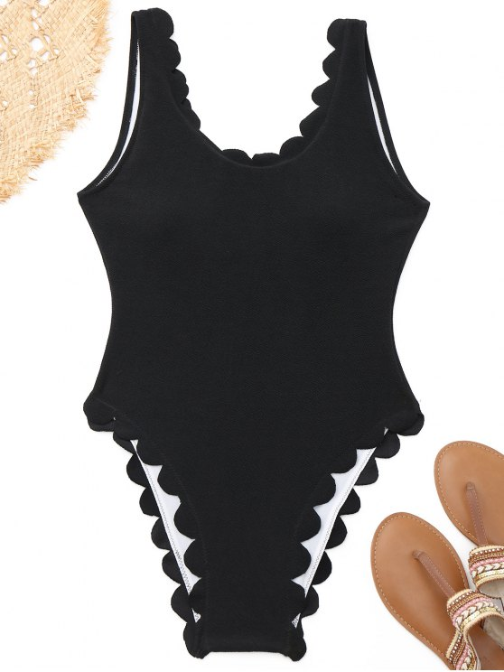 shops High Cut Scalloped One-piece Swimwear - BLACK L