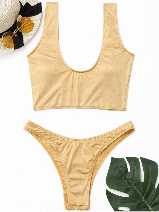 Conjunto de bikini acolchado de corte alto brillante - Dorado M