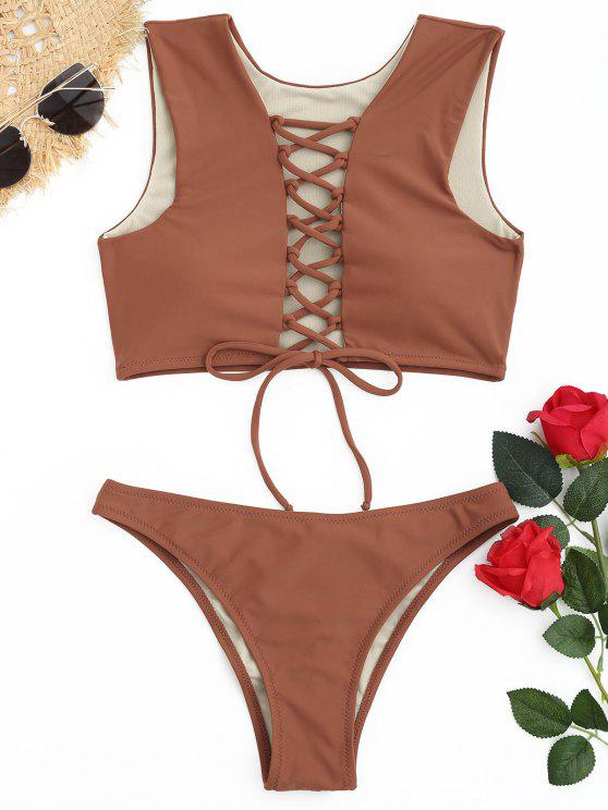 women Padded Lace Up Ruched Bikini Set - BROWN L