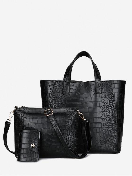 women Embossing 3 Pieces PU Leather Handbag Set - BLACK