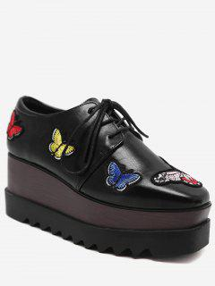 Butterfly Embroidery Faux Leather Wedge Shoes - Black 39