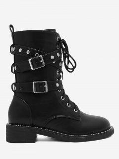 Tie-up Front Studs Buckle Strap Ankle Boots - Black 39