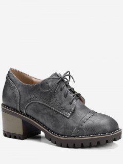 Chunky Heel Stitching Boots - Gray 39