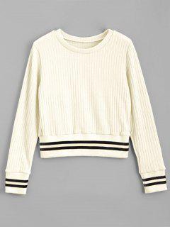 Passender Streifen Panel Pullover - Weiß S