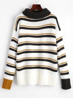 Rollkragen Streifen Pullover Pullover - Streifen