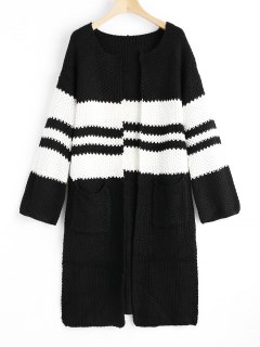 Open Front Slit Two Tone Cardigan - White And Black