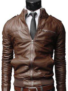 Faux Leather Zip Up Mens Biker Jacket - Brown Xl