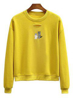 Crew Neck Animal Embroidered Sweatshirt - Mustard
