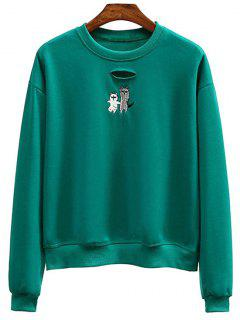 Crew Neck Animal Embroidered Sweatshirt - Green