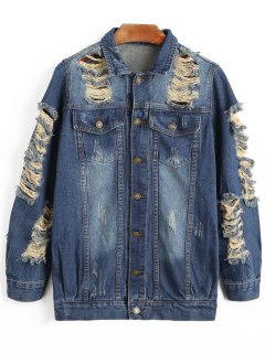 Distressed Boyfriend Denim Jacket - Denim Blue L