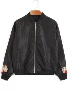 Flower Embroidered Bomber Jacket - Black L