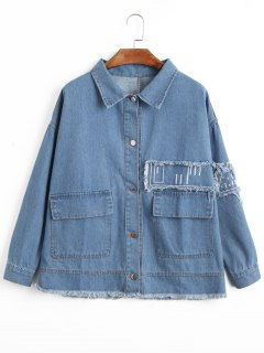 Oversized Frayed Hem Denim Jacket - Denim Blue L