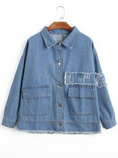 Oversized Frayed Hem Denim Jacket - Denim Blue S