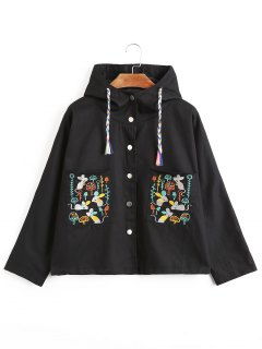 Front Pocket Embroidered Hooded Jacket - Black