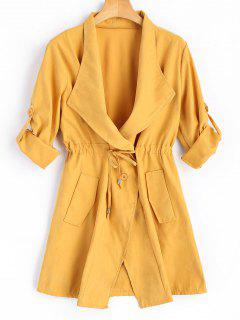 Button Up Belted Skirted Trench Coat - Yellow