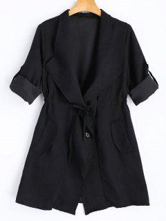 Button Up Belted Skirted Trench Coat - Black