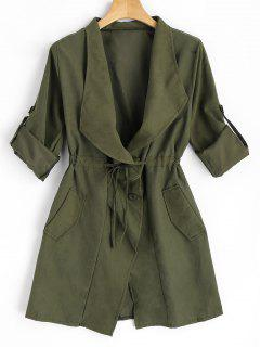 Button Up Belted Skirted Trench Coat - Army Green