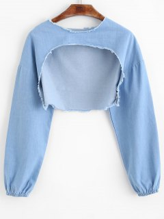 Cropped Frayed High Low Sweatshirt - Denim Blue