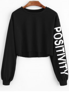 Cropped Letter Sleeve Sweatshirt - Black 2xl