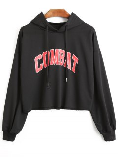 Combat Graphic Crop Hoodie - Black