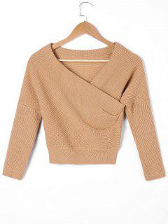 Drop Shoulder Cropped Surplice Sweater - Kamelhaarfarbe  Xl