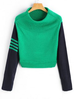 Two Tone Off Shoulder Pullover Sweater - Green