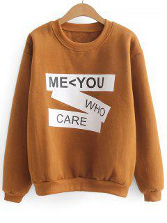 Contrasting Letter Two Tone Sweatshirt - Light Brown