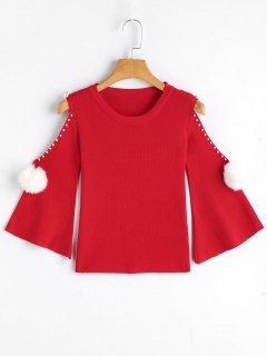 Faux Pearls Cold Shoulder Knit Sweater - Red