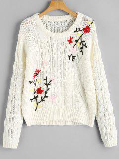 Jacquard Chunky Sweater - White