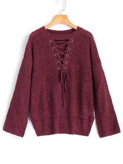 High Low Lace Up Pullover Sweater - Purplish Red