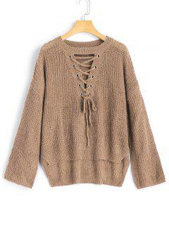 High Low Lace Up Pullover Sweater - Khaki