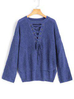 Hoch Niedrig Lace Up Pullover Pullover - Blau
