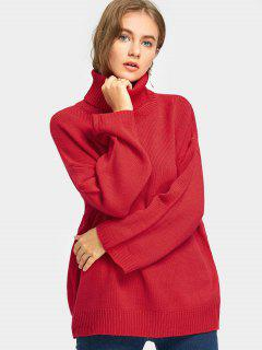 Ribbed Turtle Neck Tunic Sweater - Red