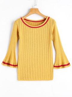 Flare Ärmel Kontrastierender Pullover Strick - Gelb